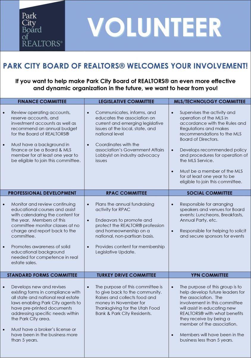 Park City Board of REALTORS® | Committees